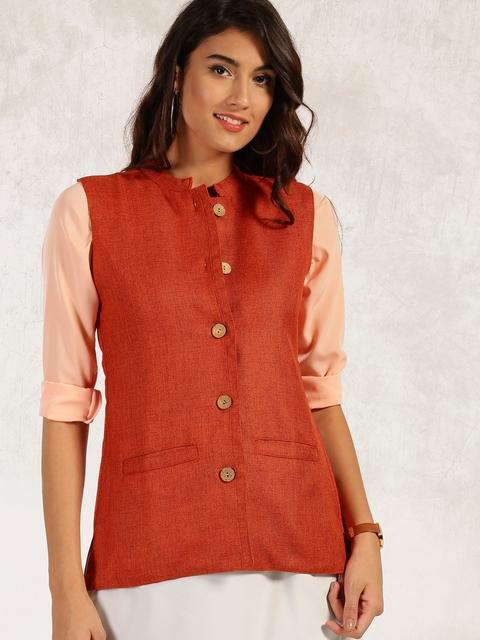 Anouk Women Orange Solid Tailored Jacket