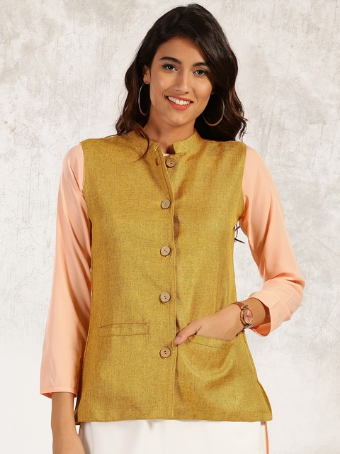 Anouk Women Mustard Yellow Solid Tailored Jacket  available at myntra for Rs.659