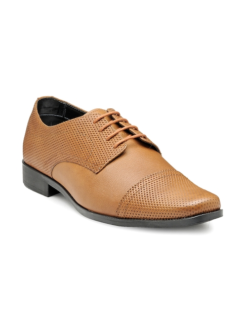 Franco Leone Men Tan Brown Perforated Leather Semiformal Shoes