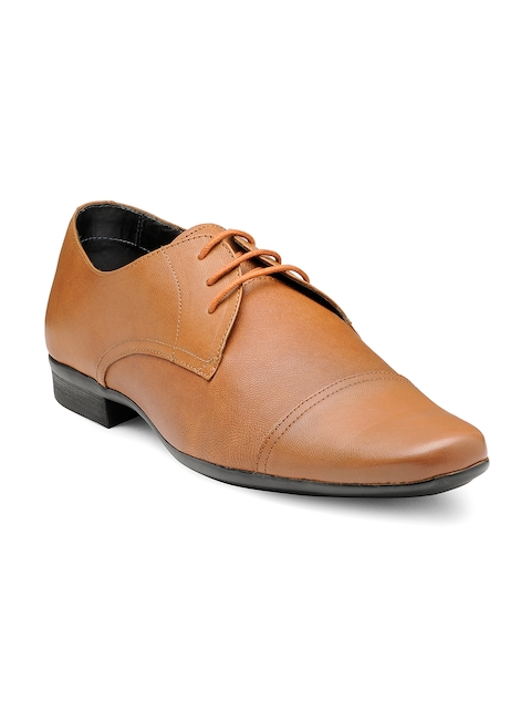 Franco Leone Men Tan Brown Textured Leather Formal Shoes