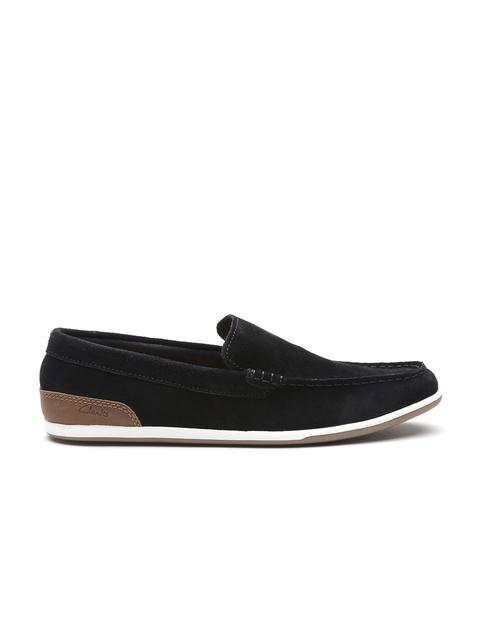 Clarks Men Black Suede Loafers