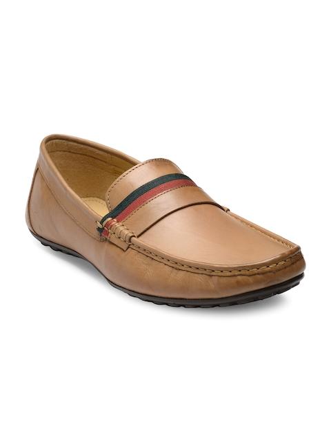 Franco Leone Men Tan Brown Leather Semiformal Slip-Ons