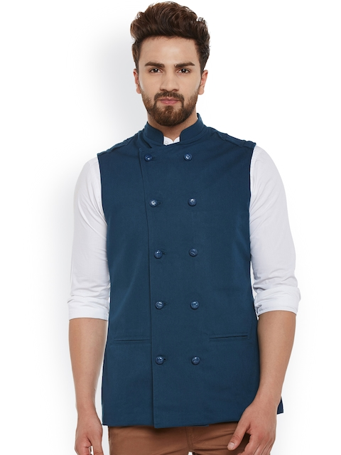 Hypernation Teal Blue Double-Breasted Nehru Jacket