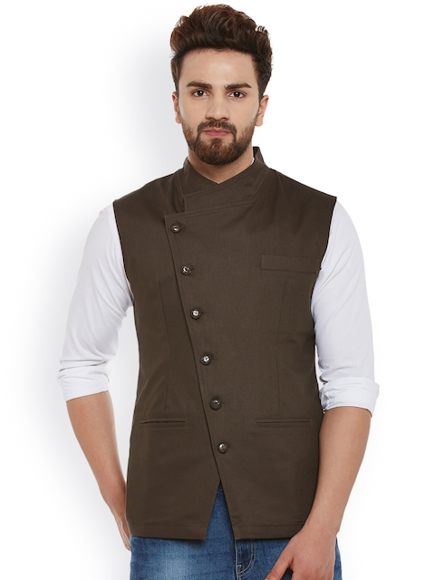 Hypernation Brown Nehru Jacket