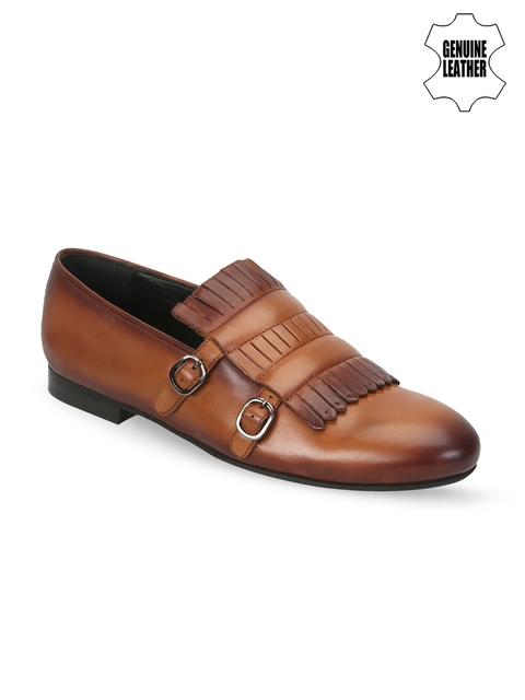 BARESKIN Men Tan Brown Leather Loafers