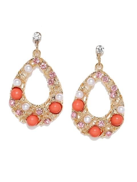 ToniQ Gold-Toned & Pink Embellished Drop Earrings