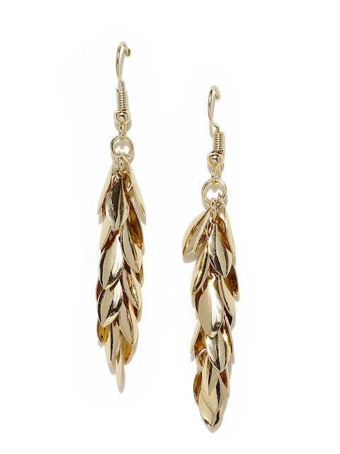 ToniQ Gold-Toned Leaf Shaped Drop Earrings  available at myntra for Rs.248