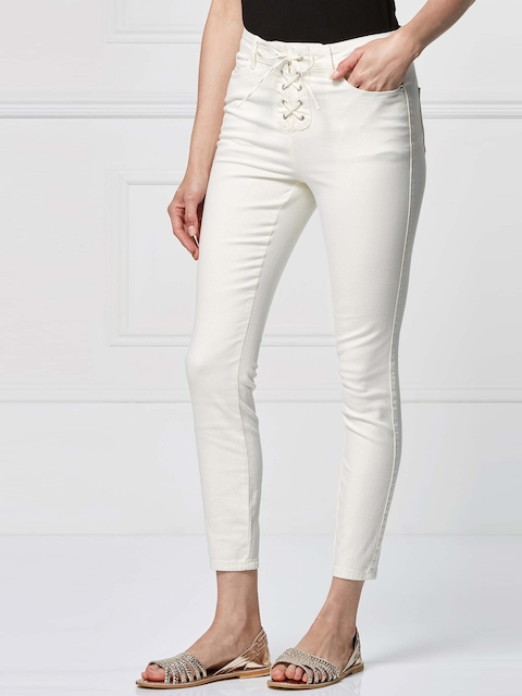next Women Off-White Skinny Fit Solid Trousers