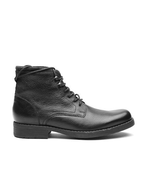 Clarks Men Black Leather High-Top Flat Boots