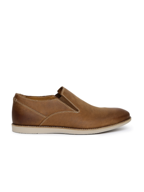 Clarks Men Tan Brown Franson Stride Leather Loafers