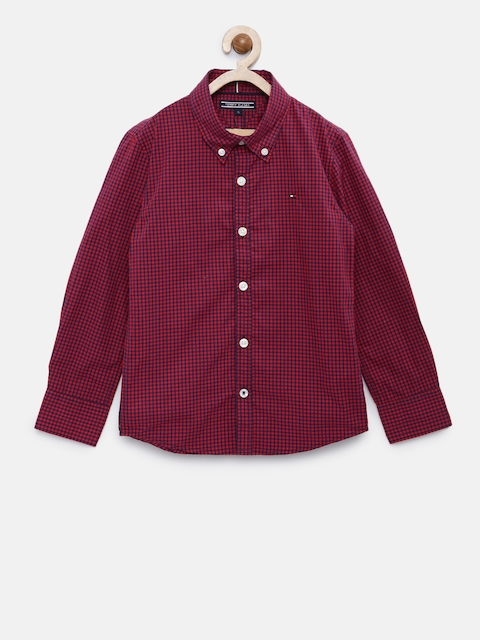 Tommy Hilfiger Boys Red & Navy Smart Fit Checked Casual Shirt