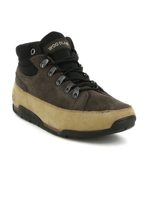 Woodland Men Charcoal Colourblocked Leather Mid-Top Flat Boots