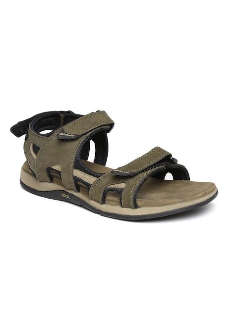 Woodland Men Olive Green Nubuck Leather Sandals