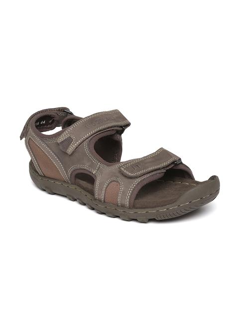 Woodland Men Brown Nubuck Leather Sandals