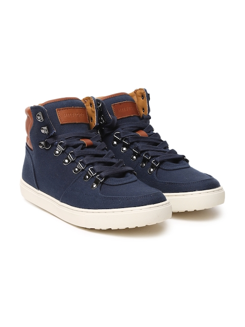 Tommy Hilfiger Men Blue Solid Canvas Mid-Top Sneakers