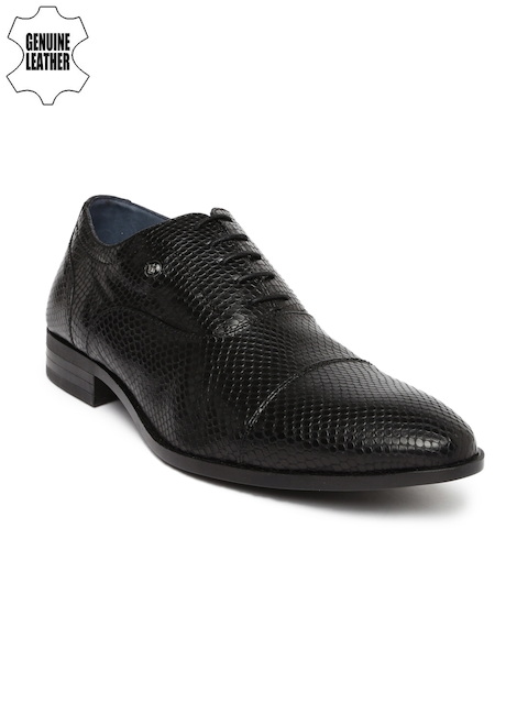 Louis Philippe Men Black Textured Genuine Leather Oxfords