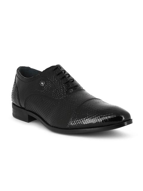 Louis Philippe Men Black Textured Patent Leather Derbys