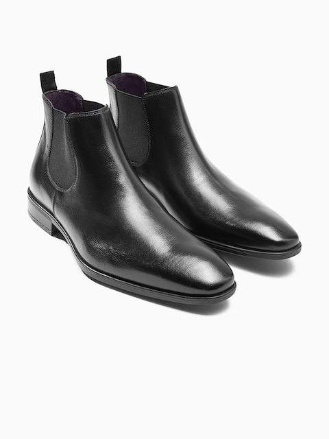 next Men Black Solid Leather High-Top Flat Boots