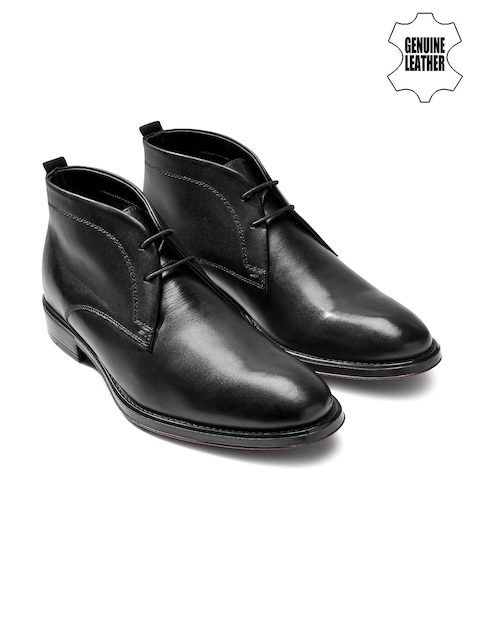 next Men Black Genuine Leather Mid-Top Chukka Boots