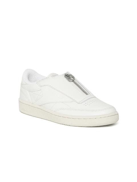 Reebok Classic Women Off-White Club C 85 Zip Leather Sneakers