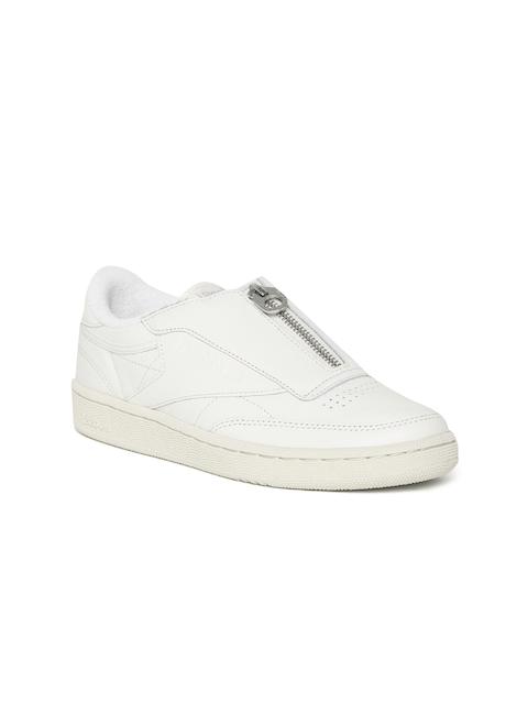 Reebok Classic Women Off-White Club C 85 Zip Leather Slip-On Sneakers