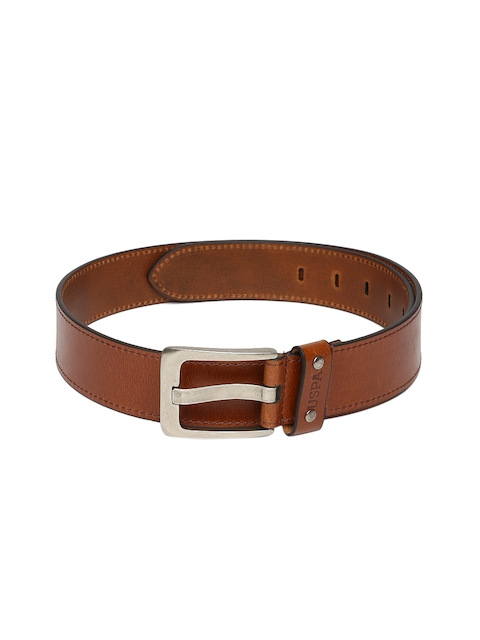 U.S. Polo Assn. Men Tan Brown Leather Solid Belt