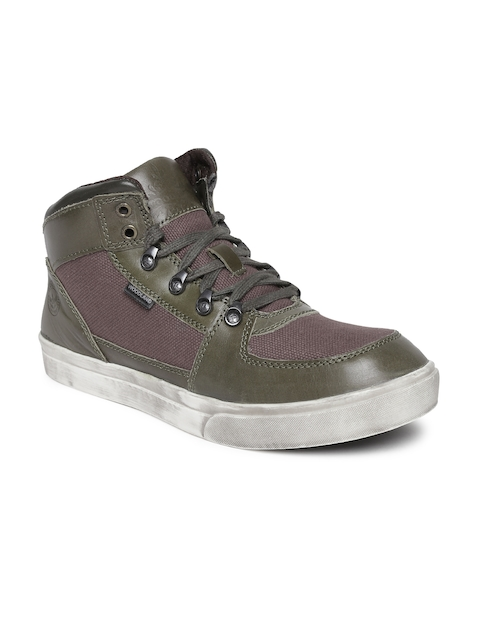 Woodland Men Green Colourblocked Leather Mid-Top Flat Boots