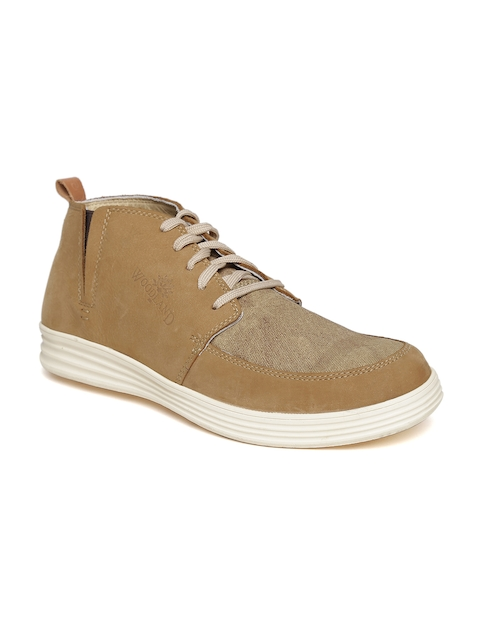 Woodland ProPlanet Men Camel Brown Nubuck Leather Mid-Top Flat Boots  available at myntra for Rs.1746
