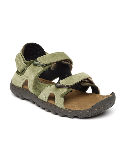 Woodland Men Olive Green Suede Sandals