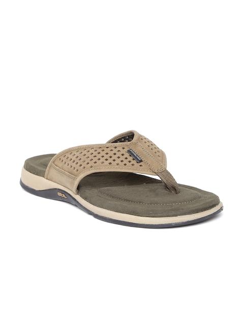 Woodland ProPlanet Men Khaki Leather Cut-Out Sandals