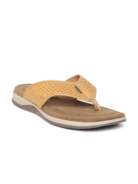 Woodland ProPlanet Men Tan Brown Leather Cut-Out Sandals