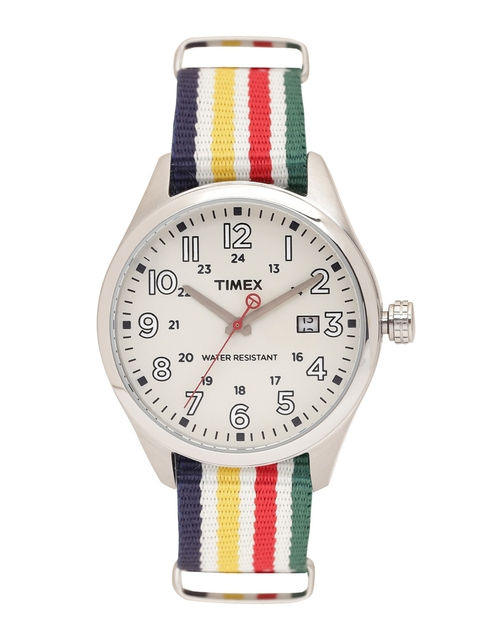 Timex Men Off-White Analogue Watch T2N977