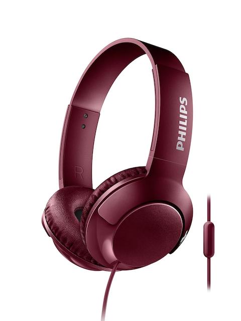Philips Maroon Over-Ear BASS+ Headphones with Mic SHL3075BK