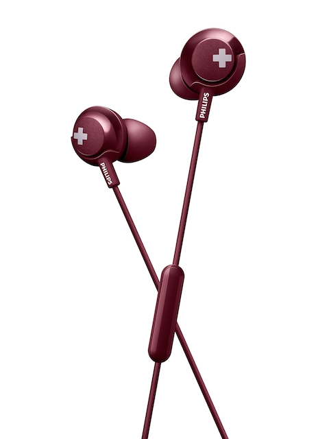 Philips Maroon In-Ear BASS+ Headphones with Mic SHE4305BK
