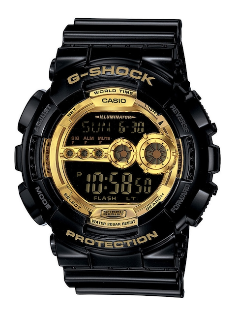 CASIO Men Black & Gold-Toned Digital Chronograph Watch GD-100GB-1DR