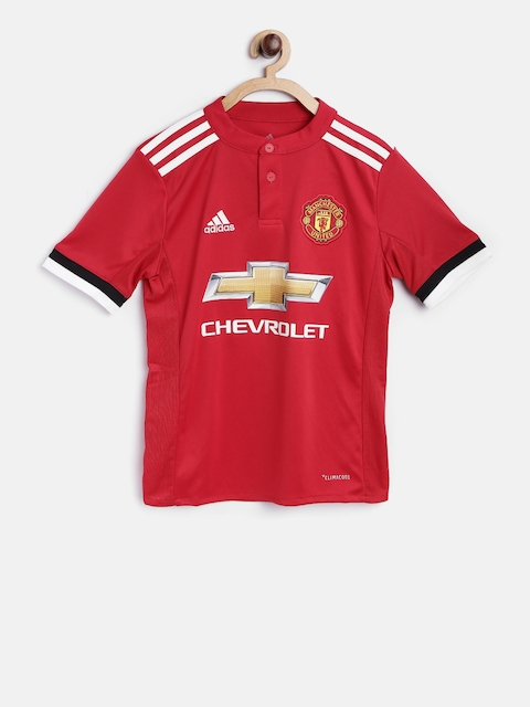 Adidas Boys Red MUFC Printed Round Neck T-shirt