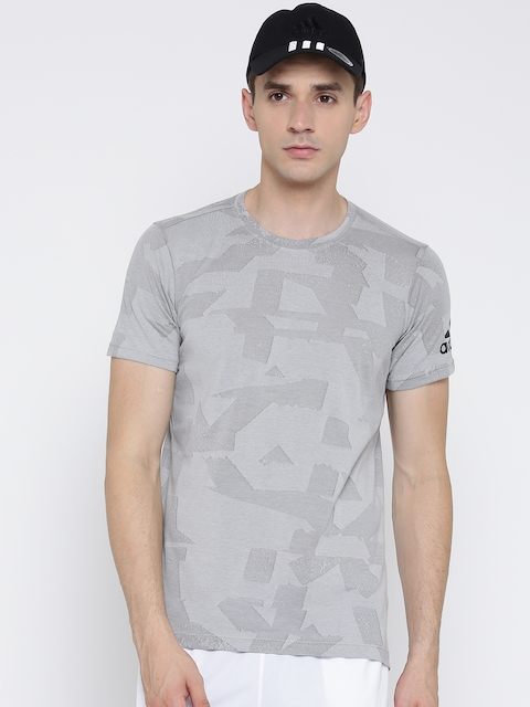 ADIDAS Men Grey FREELIFT ELITE Self-Design Round Neck T-shirt