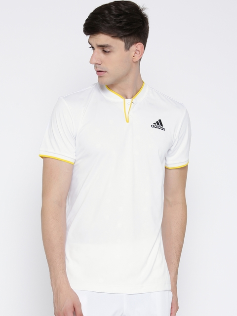 ADIDAS Men White London Polka Dot Polo Collar T-shirt