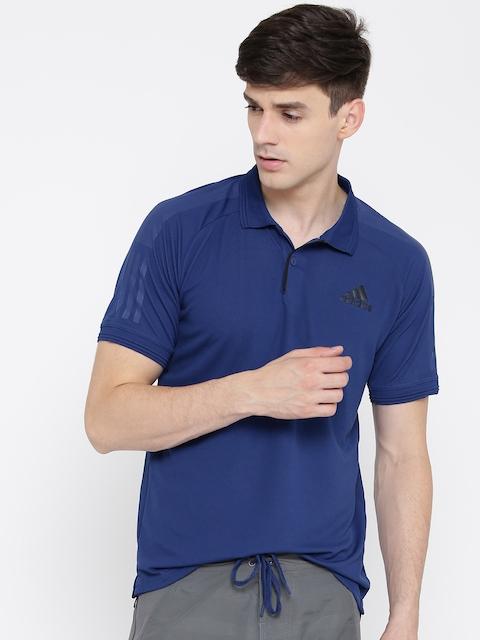 ADIDAS Men Blue Barricade Solid Polo Collar T-shirt