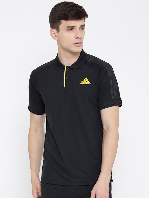 ADIDAS Men Black Barricade Solid Polo Collar T-shirt