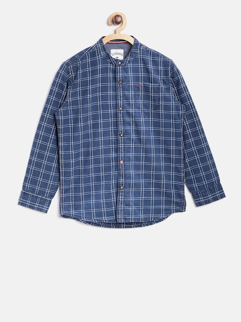 Lee Cooper Boys Navy Blue Slim Fit Checked Casual Shirt