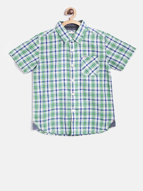 Lee Cooper Boys Green & Blue Contemporary Fit Checked Casual Shirt