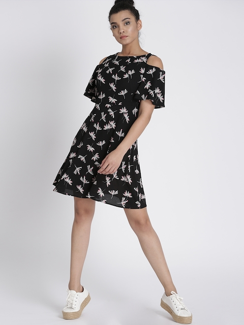 Chemistry Women Black Printed Fit & Flare Dress