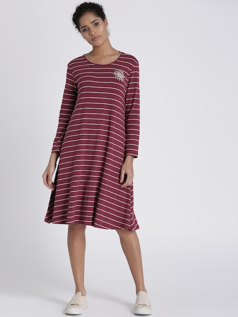 Chemistry Women Maroon Striped A-Line Dress