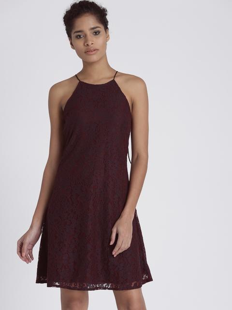 Chemistry Women Maroon & Black Self-Design A-Line Dress