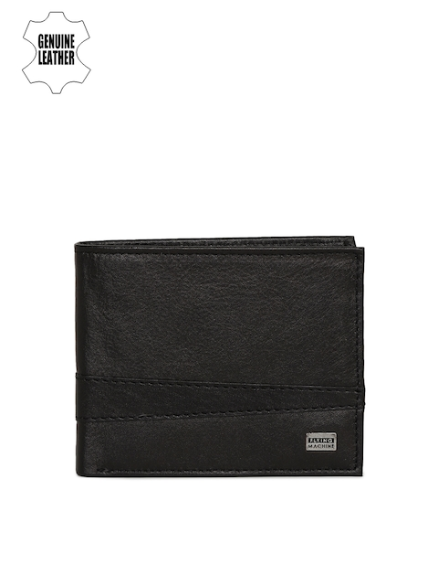 Flying Machine Men Black Solid Genuine Leather Two Fold Wallet