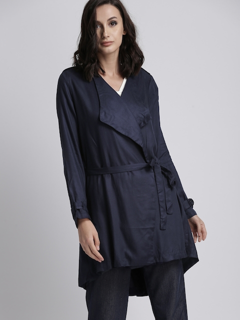 Chemistry Women Navy Blue Solid Tailored Jacket