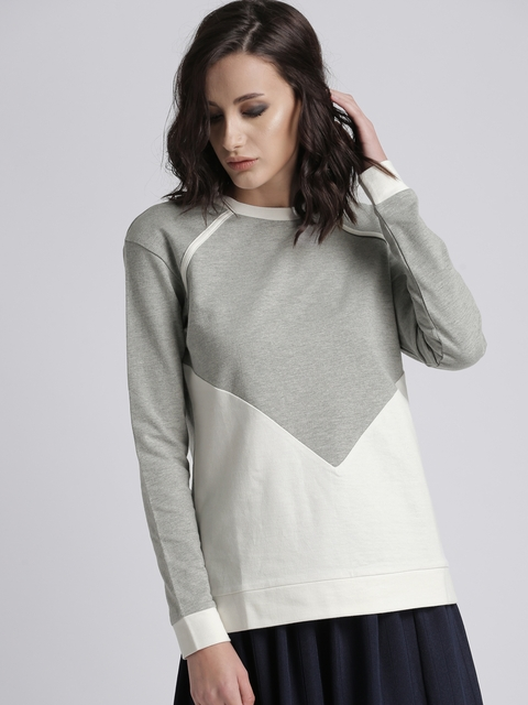 Chemistry Women Grey & White Solid Hooded Sweatshirt