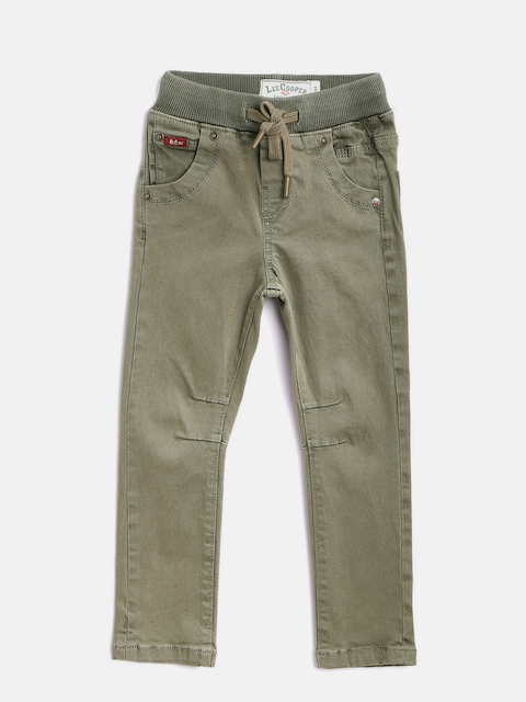 Lee Cooper Boys Olive Green Slim Fit Mid-Rise Clean Look Stretchable Jeans  available at myntra for Rs.769
