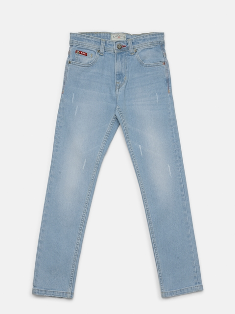 Lee Cooper Boys Blue Slim Fit Mid-Rise Low Distress Stretchable Jeans  available at myntra for Rs.764
